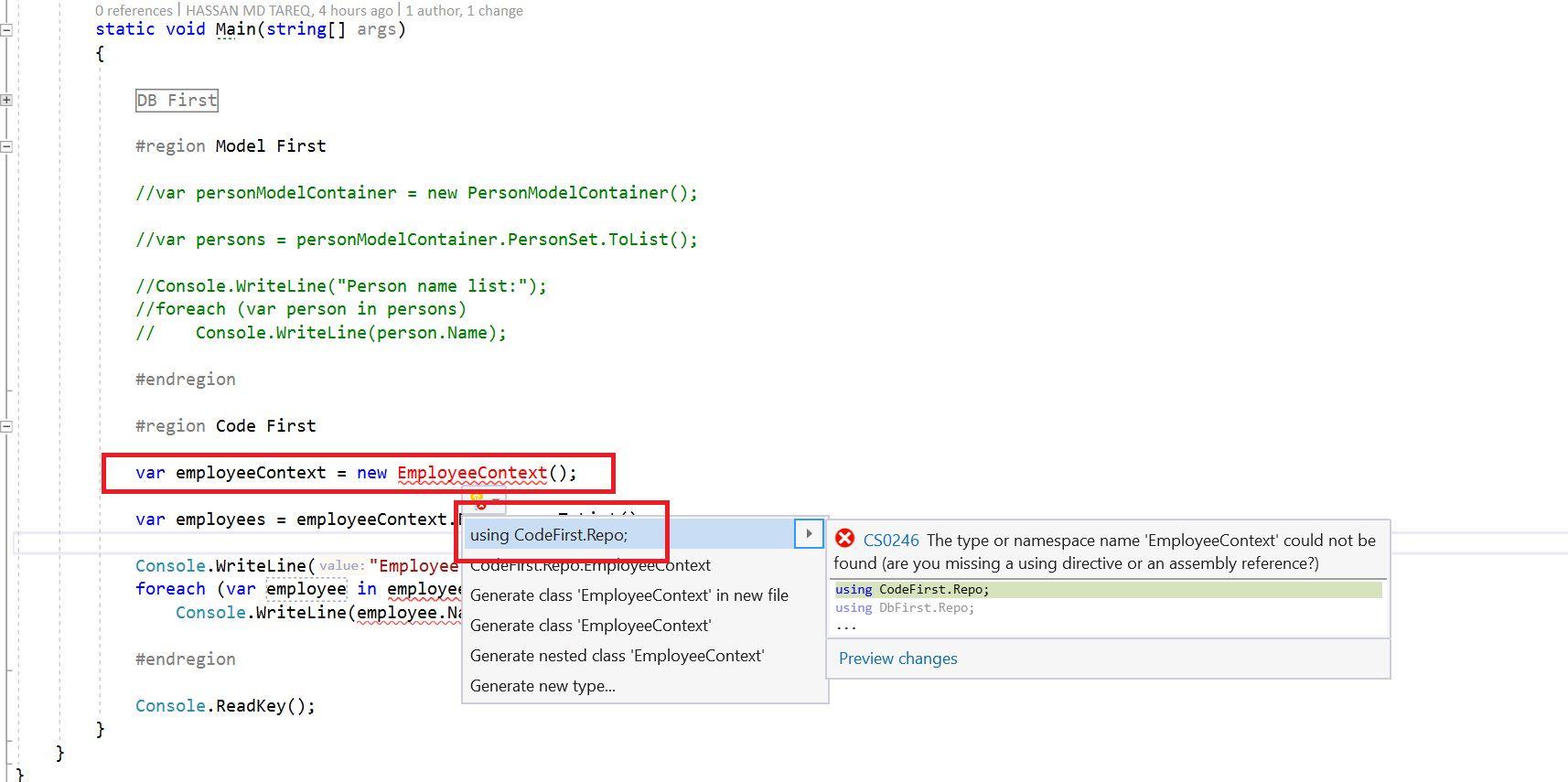 Entity Framework Code Fisrt Approach - Creating edmx from DbContext Step 18